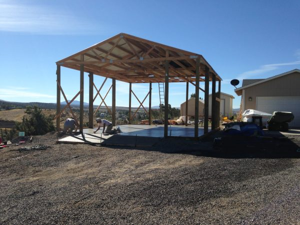 Concrete slab foundation in Central Oregon